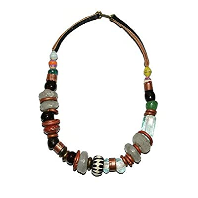Women's Handmade Chunky Beaded Necklace Recycled Glass Beads Fair Trade Jewelry Africa