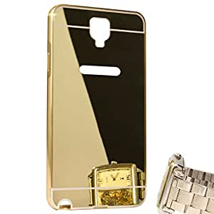 Droit Luxury Metal Bumper + Acrylic Mirror Back Cover Case For Samsung 7505 Gold + Flexible Portable Thumb OK Stand by Droit Store.