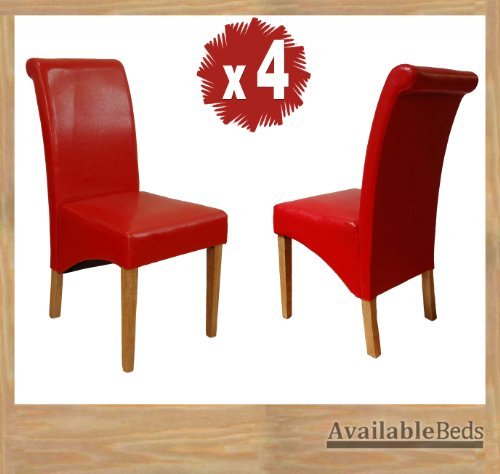 Milano Scroll Back Faux Leather Dining Room Chair - RED X4
