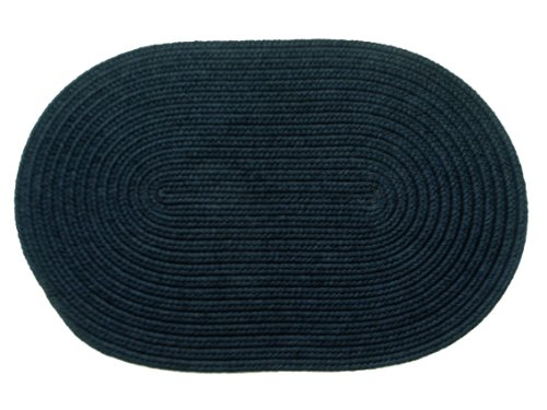 Rhody Rug Solid Polyester Oval Braided Rug, 2 by 3-Inch, Navy