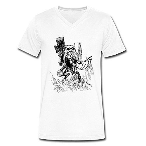 ZhaoHui Sale Men Guardians Of The Galaxy V-neck T Shirt L White