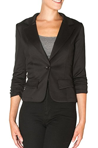 Women's Casual or Wear to Work Solid Color Blazer 1 Button in Knit. Also Good for a night out. (small, black)