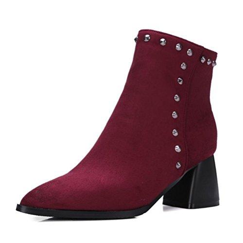 Ei&iLI Bottes courtes femmes Chunky talon Zipper Fashion bottes / a souligné Toe cuir robe noir / rouge