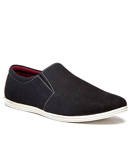 ZAPATOZ Black Canvas Slip On Loafers