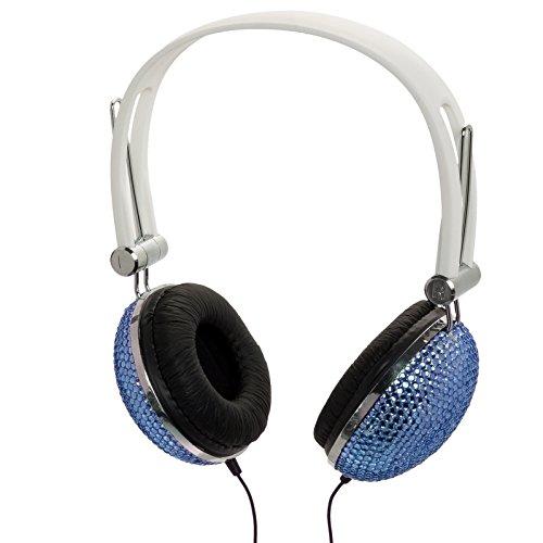 Aqua Blue Crystal Rhinestone Dj Headphones Headset Earphones