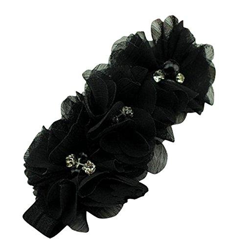 PinkXenia Black Chiffon Flower Pearl Embellished NewBorn BabyGirl Soft Elastic Headband