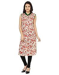Shagun Creation Red Green Floral Print Kurti-42-For Women, Girls