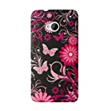 For HTC One M7 801e Stylish Flower Butterfly Hard Glossy Shiny Mobile Phone Cas Cover (Hot Pink Butterfly