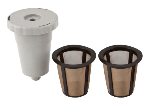 THE ORIGINAL GOLDTONE BRAND Single Kup Reusable Filters with Housing-2 Pack-LARGER FILTER-Holds 33% More Coffee