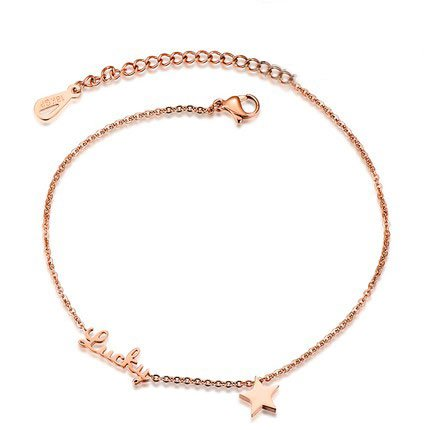 PlusMinus Women's 316L Stainless Steel Fashion Lucky Letter Charm Pentacle Pendant Gift Anklets Rose Gold