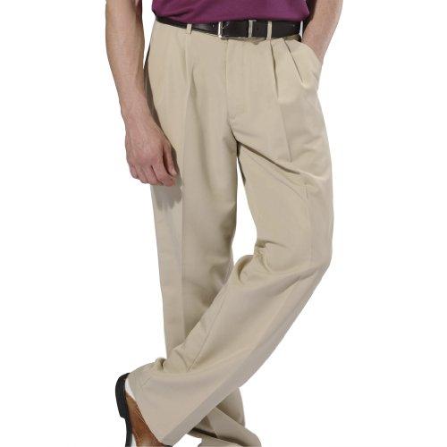Monterey Club Mens Texture Twill Slacks #1837 (Khaki, Size:32)