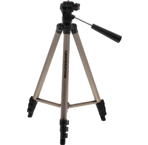 7dayshop Tripod - Aluminium 4 Section 126cm Travellers Midi Tripod with Shoulder Case - Fits all cameras and camcorders incl. Compact digital DSLR, SLR and Bridge cameras. Works with Canon, Nikon, Pentax, Minolta, Panasonic, Samsung, Olympus, Sony, Fuji a