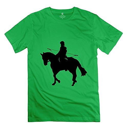 Tbtj-X Riding Horse Shoot T-Shirt For Men'S/Forestgreen Tee Shirts