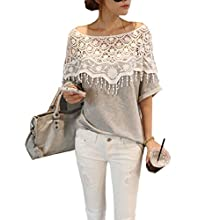 Sexy Women Lace Shoulder Hollow Back Short Sleeve T-shirt Blouse Tops