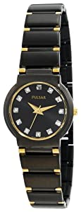 Pulsar Women's Crystal Black Ion Gold-Tone Watch