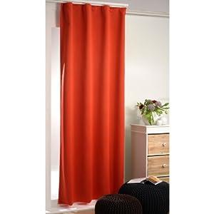 Verdunklungsgardinen / Thermogardinen 135 x 245 cm mit Universal-Kräuselband (Orange)