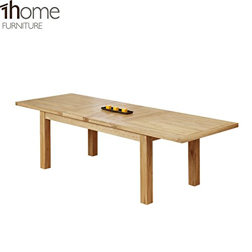 1home double extending solid oak dining table furniture uk