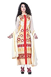 Styllaz creation cream chanderi cotton embrodaired dress material