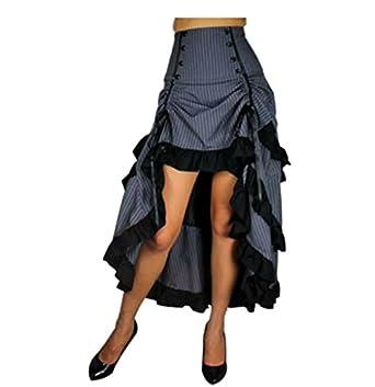 Three Tiered Tail Skirt Grey Pinstirpe Gothic Victorian Renaissance Steampunk Goth $75.99 AT vintagedancer.com