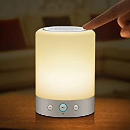 EACHTEK Smart Music Light Bluetooth Speaker Lamp - Touch Control, Rainbow Night Light, Answer Phone Calls, Play Music from Cell Phones or Micro SD Cards, FM Radio, Repeat Play, Power Off Timing