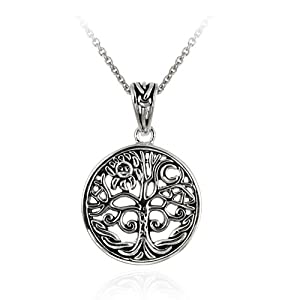 Sterling Silver Celtic Tree of life Pendant with Rolo Chain, 18