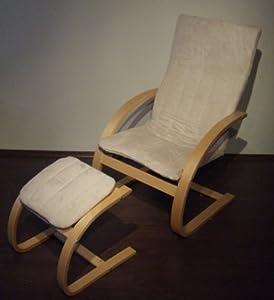 schwingsessel mit hocker ecru schwingstuhl k che haushalt. Black Bedroom Furniture Sets. Home Design Ideas