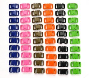 """Bluecell 60 PCS of 3/8"""" (10mm) 6 Color (10 Each) Contoured Side Release Plastic Buckles"""