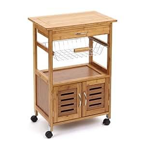 39 Marston 39 Wooden Garden Kitchen Storage Trolley With Natural Wood Worktop Patio Cart With 1