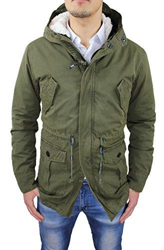 Giubbotto Parka uomo verde militare casual giaccone eskimo invernale con pelliccia Taglia S M L XL XXL (L)