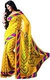 FashionKhoj vibrant Yellow Bhagalpuri silk saree with blouse