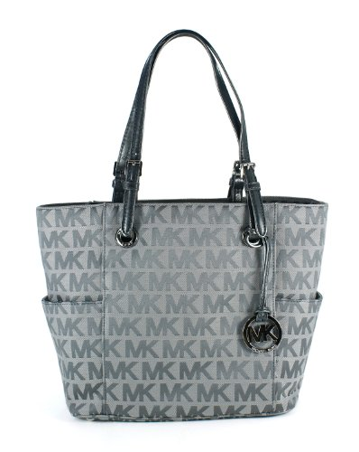 Michael Kors Jet Set East West Signature Tote Ice Slate Gunmetal