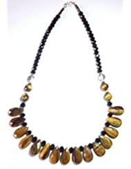 Nonas beaded tiger eye and glass crystal necklace for women