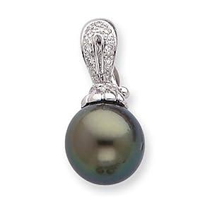 IceCarats Designer Jewelry 14K 10Mm Saltwater Cultured Tahitian Pearl Diamond Pendant