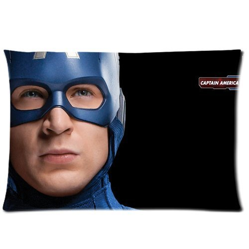 Generic Custom Cartoon Captain America Printed Zippered Pillowcase Cushion Cover 20*30(Twin Sides) front-1001066