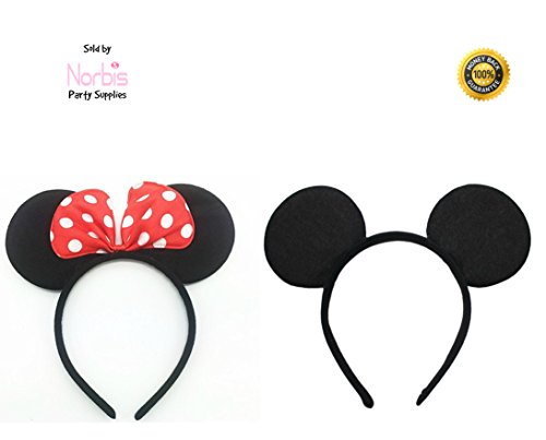 Mouse ears headband Children birthday party supplies Mom Baby Hairs Accessories Girl Headwear party decoration baby shower Halloween Set of 2 (Mickey Mouse Theme Party Supplies compare prices)