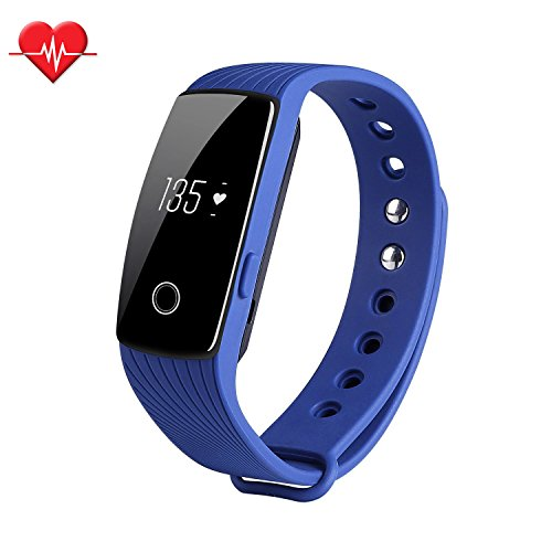 Fitness Tracker & Heart Rate Monitor, ID107 Bracelet Pedometer Watches Sleep Monitor Life Waterproof Fitness Band Wristband for Android iOS Phones, blue