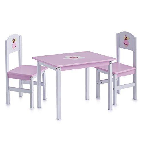 zeller-13442-princess-juego-de-muebles-infantiles-de-tablero-dm-3-piezas-mesa-60-x-48-x-45-cm-sillas