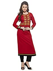 Sheknows Red Cotton Readymade Embroiederd Kurti