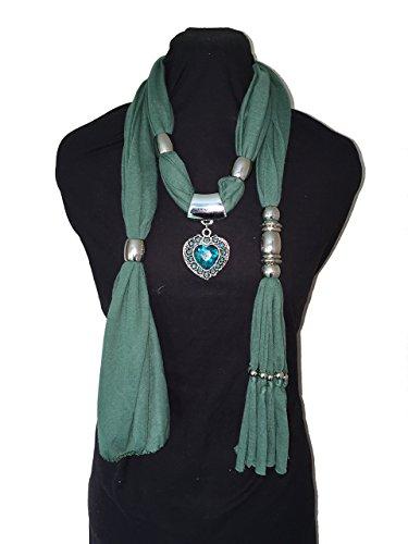pamper-yourself-now-womens-jewelled-scarf-fancy-single-heart-pendant-180cm-long-green