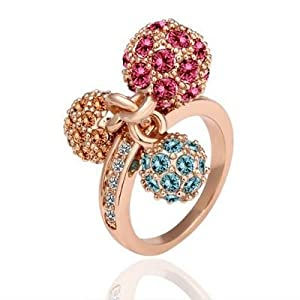 Little Drops of Gum Balls Rhinestone Candy Ring-ROSEGOLD (Size 8)-HR1