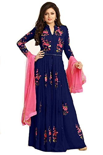 Sanjana Women\'s Clothing Designer Party Wear Low Price Sale Offer Blue Georgette Free Size Semi stitched Top Anarkali Suit Dress with Dupatta
