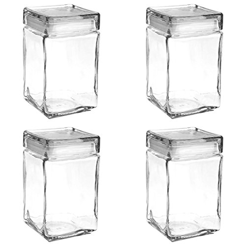Set of 4 Anchor Hocking Stackable Glass Storage Jars Containers Airtight Seal Food Storage Canister 1.5-Quart (Airtight Glass Storage Containers compare prices)