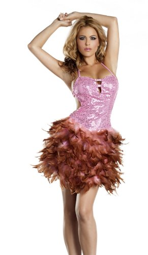 Be Wicked Costumes Women's Sequin Feather Dress Costume