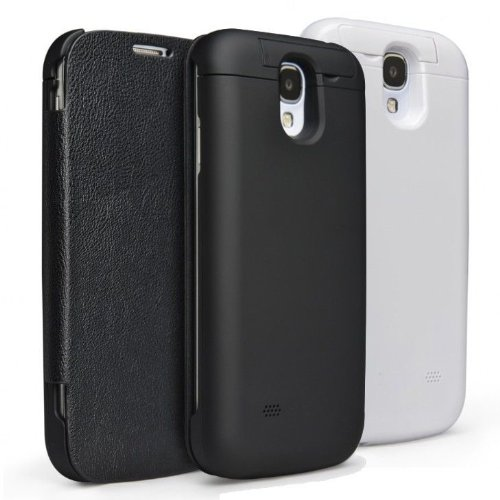 Ztcase™ Flip Battery Charging Case Cover For Samsung Galaxy S4 Slim High Quality S4 Gt-I9505 (Black)