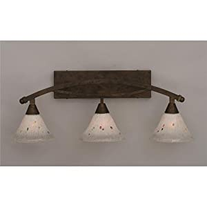 """Bow 3 Light Bath Vanity Light Shade: 7"""" Frosted Crystal Glass, Finish: Bronze"""