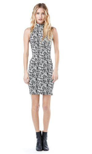 AGAIN Women's East Hampton Stretch Pencil Dress-X-Small-Black And White