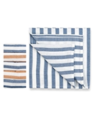 5 Pack Pure Cotton Striped Muslin Cloths