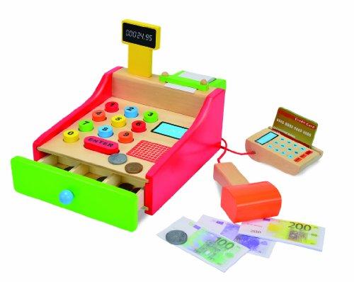 Roba Kaufladen Aus Holz Inklusive KaufladenzubehOr ~ 100003717  Holz Kasse 64 teilig  mit Kartenlesegerät und Scanner