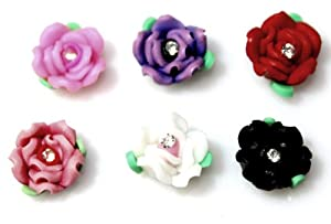 rose 1 girls kids magnetic clip on earrings clay cute childrens jewellery. Black Bedroom Furniture Sets. Home Design Ideas