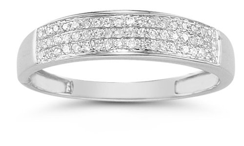 Domed Women&#8217;s Diamond Wedding Band in 14K White Gold